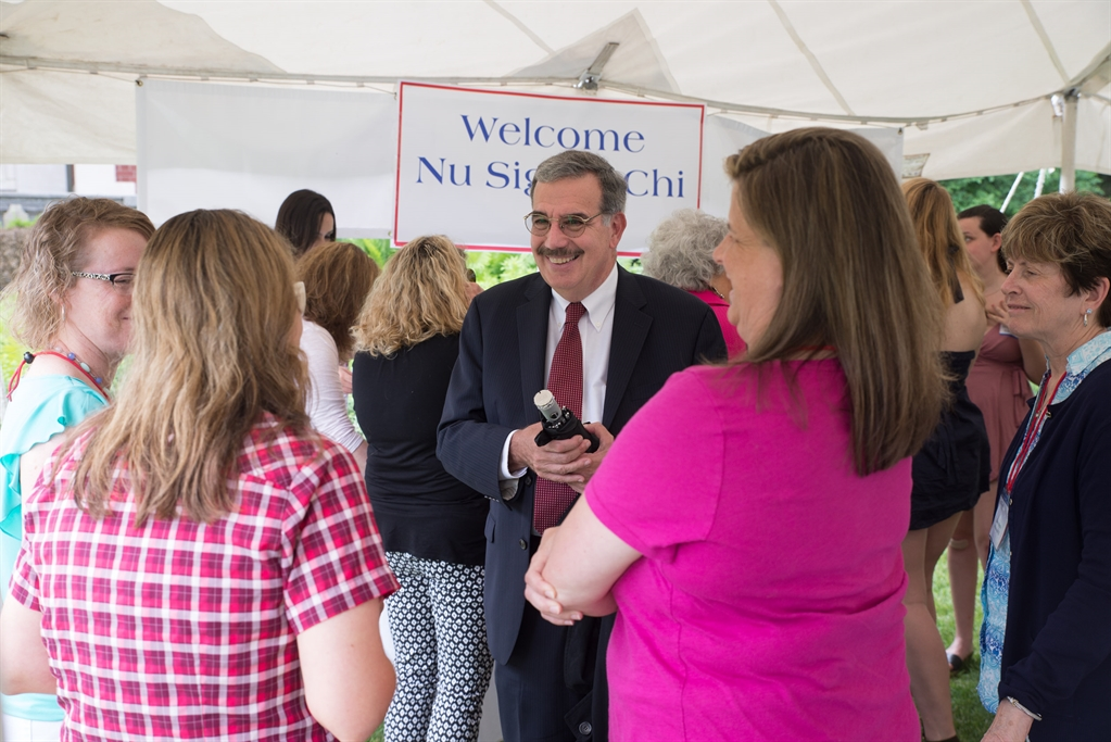 President Bitterbaum happily greating Nu Sigma Chi Sorority sisters at Reunion 2017